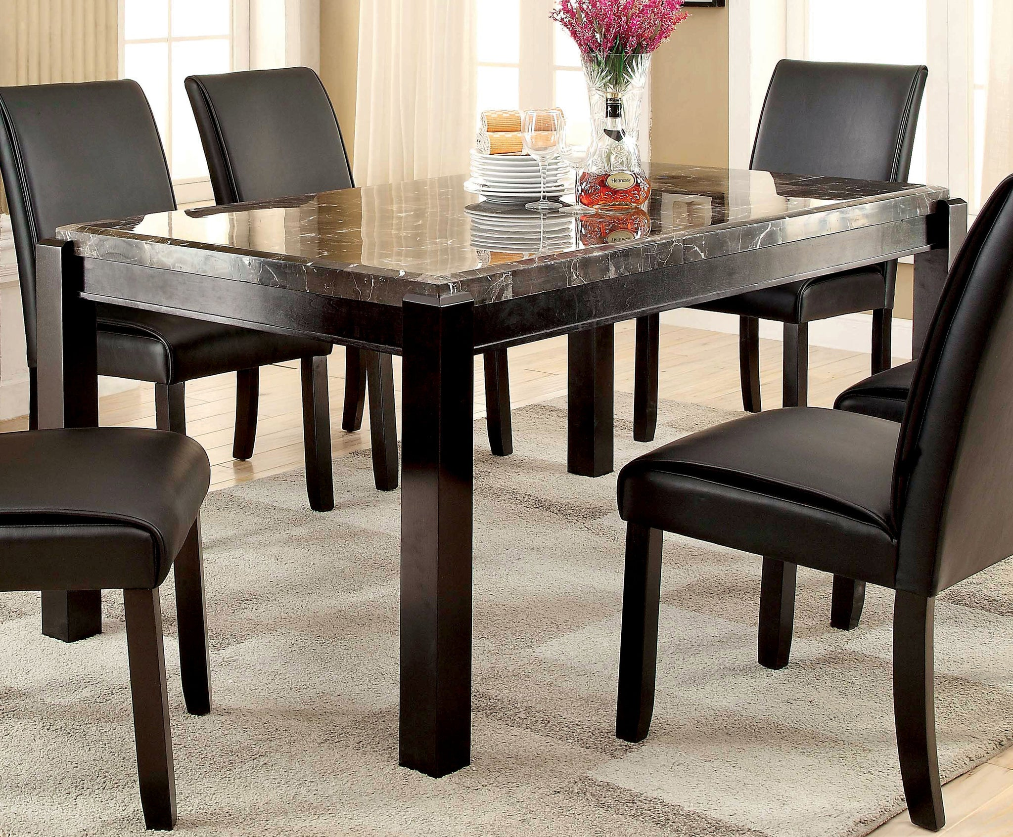 Roweena Contemporary Dining Table, Ivory and Dark Walnut