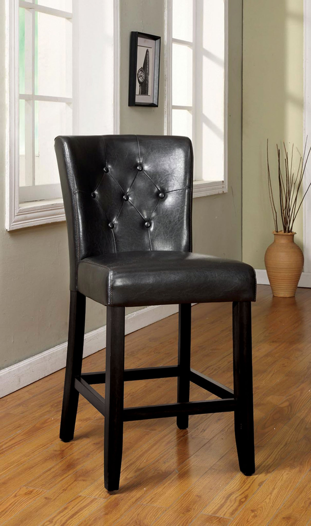 Isley Contemporary Counter Height Chair, Black