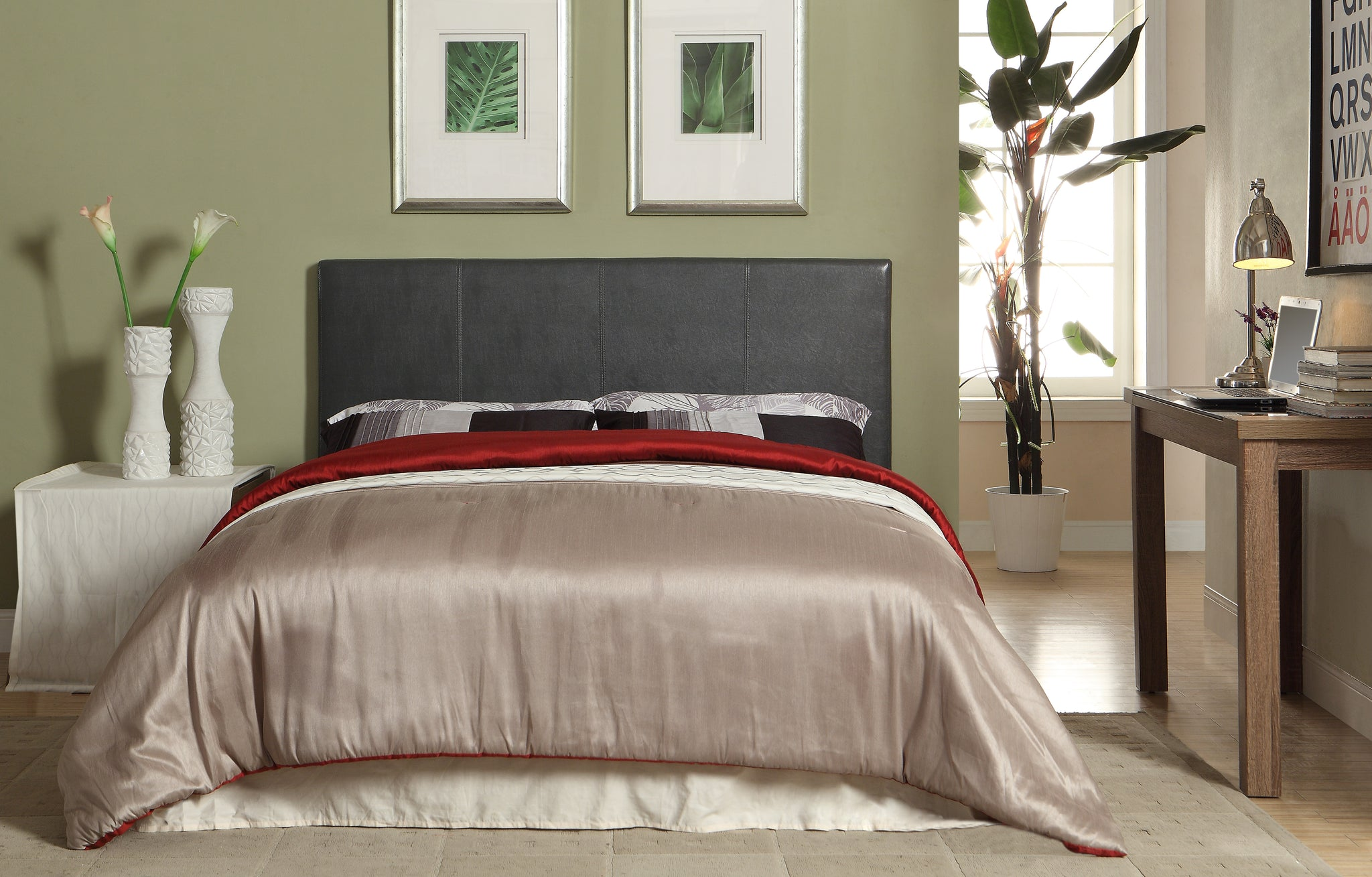 Ameena Contemporary Leatherette Queen Platform Bed in Gray - HD Furniture