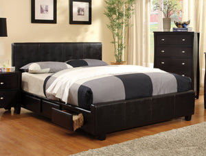 Tamai Contemporary Leatherette Queen Storage Platform Bed