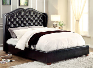 Gloria Transitional Style Leatherette Wingback Queen Bed in Black