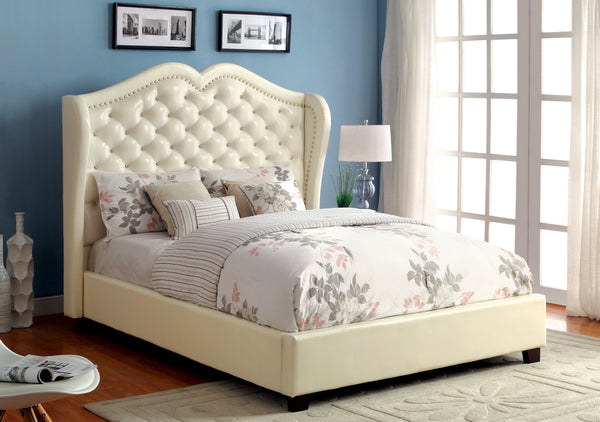 Gloria Transitional Leatherette Wingback Queen Bed in Ivory
