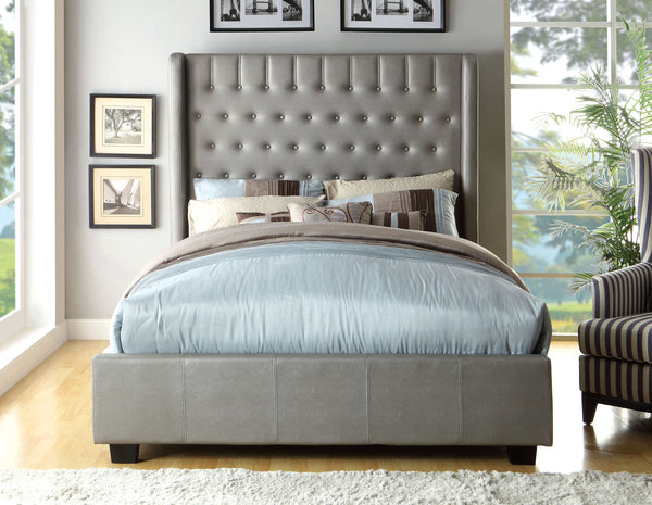 Fenty Contemporary Leatherette King Tall Wingback Bed