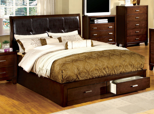 Deliah Contemporary King Footboard Storage Bed in Brown Cherry