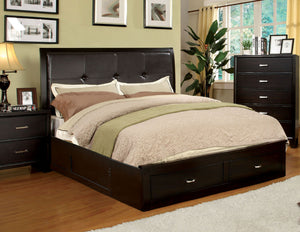 Deliah Contemporary Queen Footboard Storage Bed in Espresso