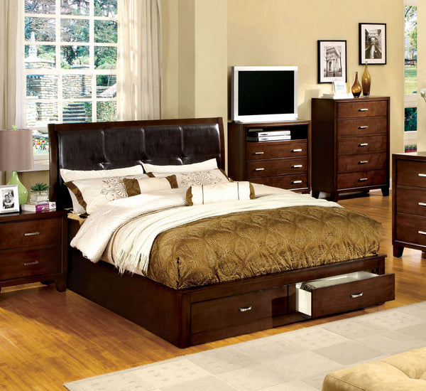 Deliah Contemporary Queen Footboard Storage Bed in Brown Cherry