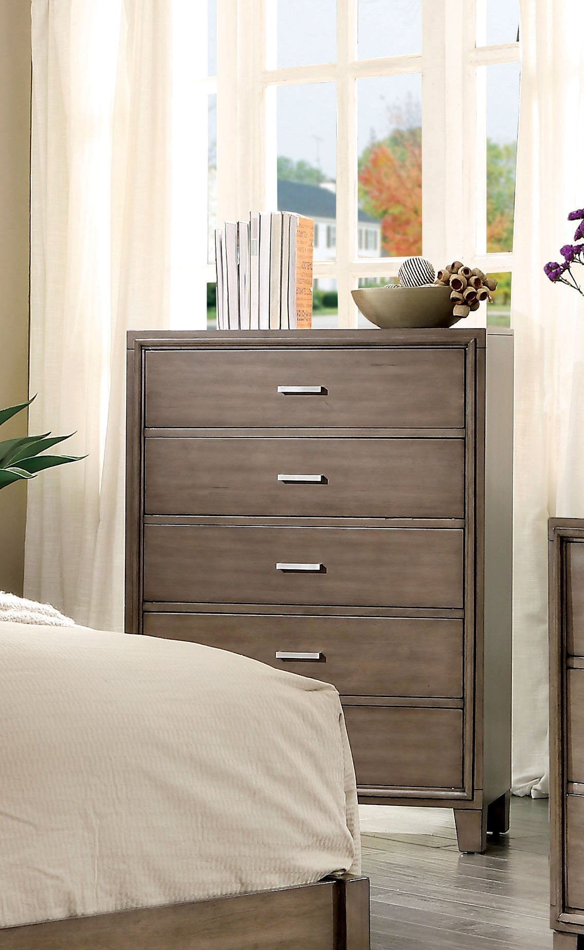 Hage Contemporary Style Gray, 5-Drawer Chest