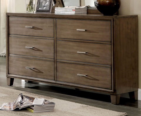 Hage Contemporary Style Gray. 6-Drawer Dresser
