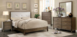 Hage Contemporary Style Gray Upholstered Queen Bed