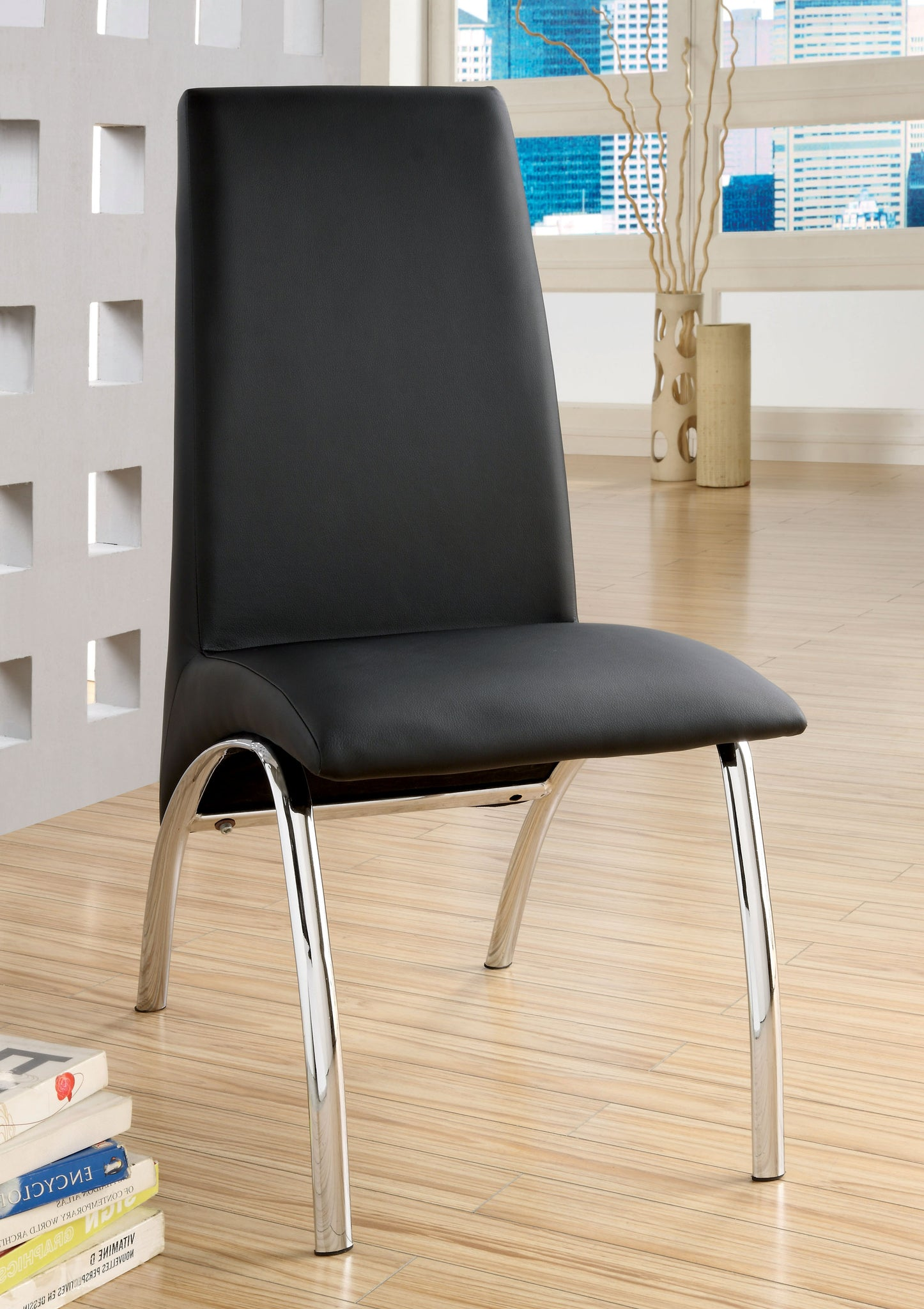 Vega Contemporary Side Chair, Black