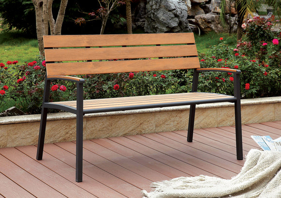 Rhea Contemporary Style Slat Panel Outdoor Patio Bench in Oak