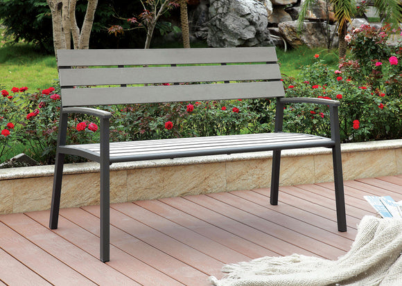 Rhea Contemporary Style Slat Panel Outdoor Patio Bench in Gray