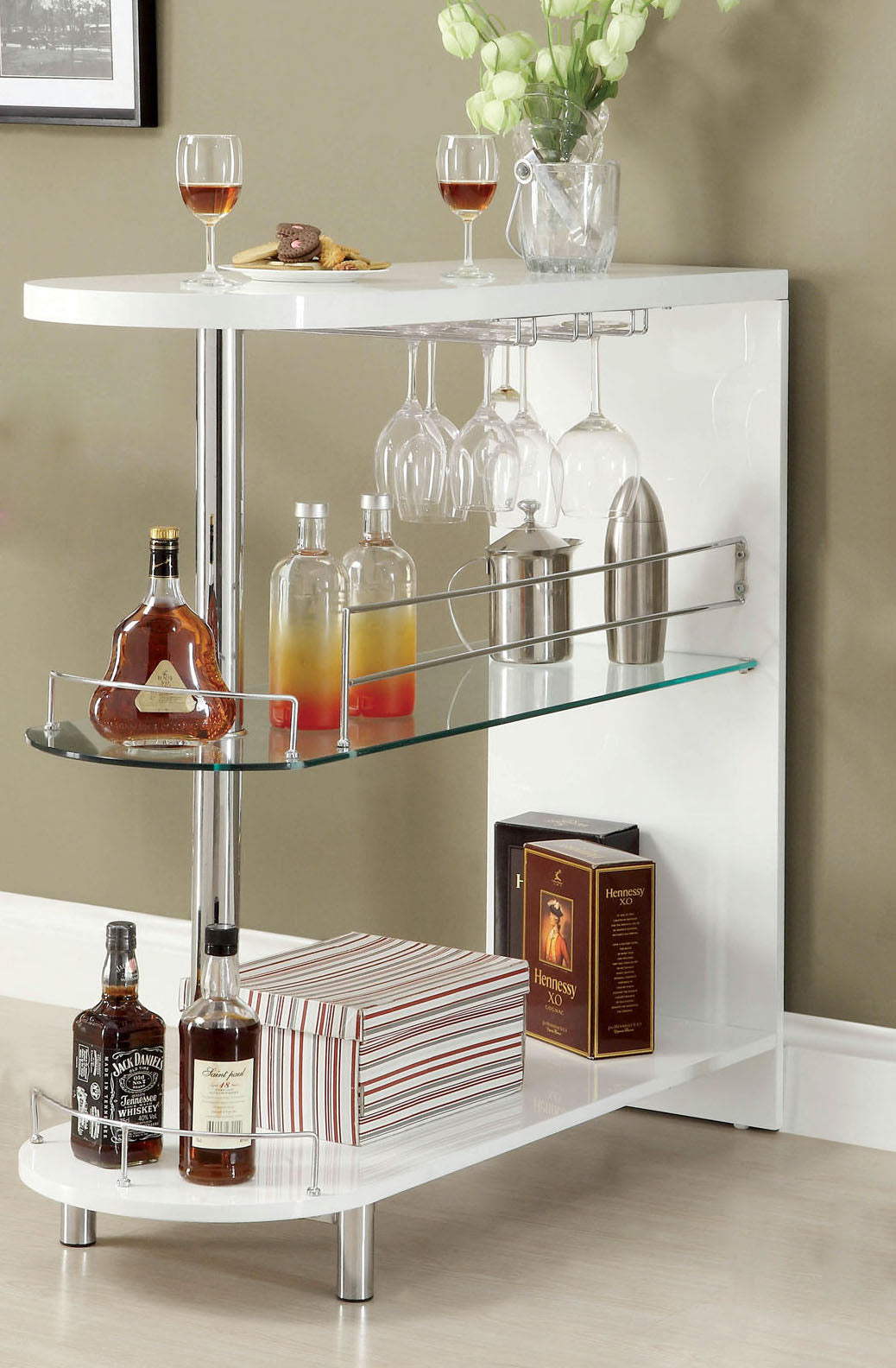 Sherrie Contemporary Buffet Table, White