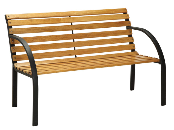 Yanes Cottage Style Slat Back Outdoor Patio Bench