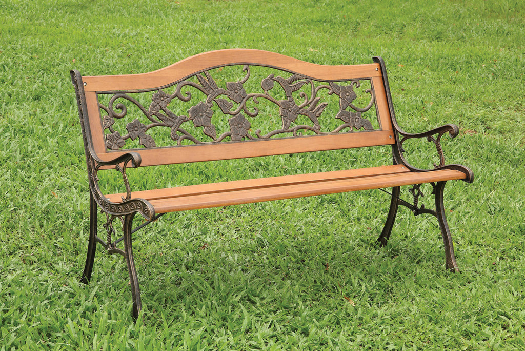 Alverdon Cottage Style Floral Back Outdoor Patio Bench