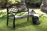 Adeah Contemporary Style Steel Finish Outdoor Patio Bench