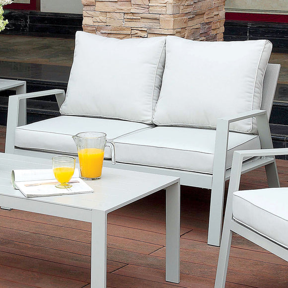 Arsey Contemporary Style Aluminum Frame Outdoor Patio Love Seat - HD Furniture