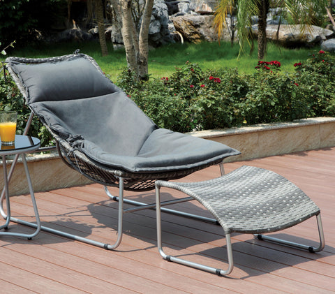 Tania Contemporary Style Outdoor Patio Chair and Ottoman Set