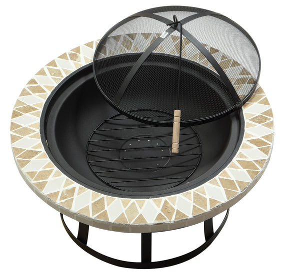Rissa Contemporary Style Outdoor Fire Pit with Spark Guard