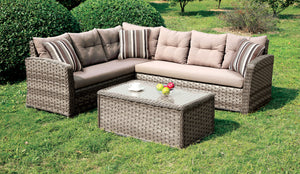 Nola Contemporary Style L-Shaped Outdoor Patio Sectional and Coffee Table Set