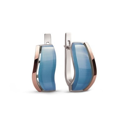 Light Blue Silver and Rose Gold Earrings with Ulexite