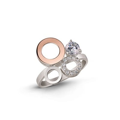 Irresistable Silver and 9kt Rose Gold Ring with Cubic Zirconia