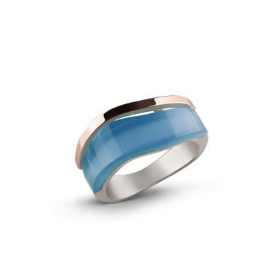 Mint Color Silver and Rose Gold Ring with Ulexite