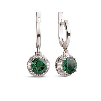 Elegant Silver Earrings with Green Quartz