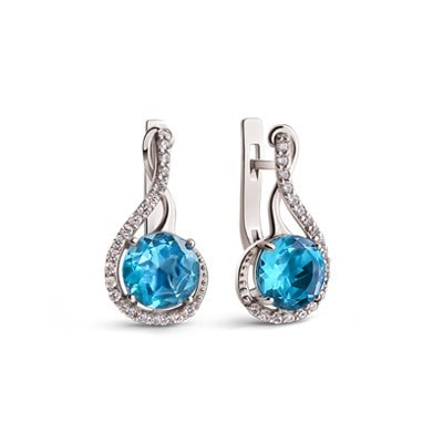 Elegant Silver Earrings with Swiss Blue Quartz