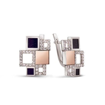 Geometric Silver and 9kt Rose Gold Earrings