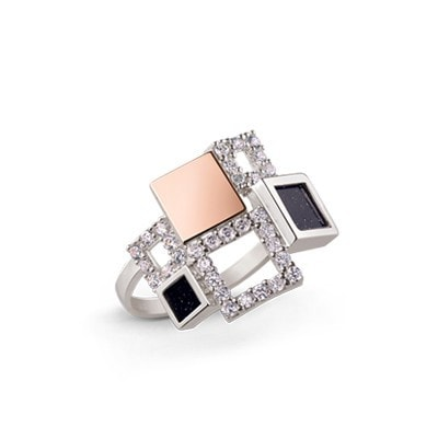 Geometric Silver and 9kt Rose Gold Ring