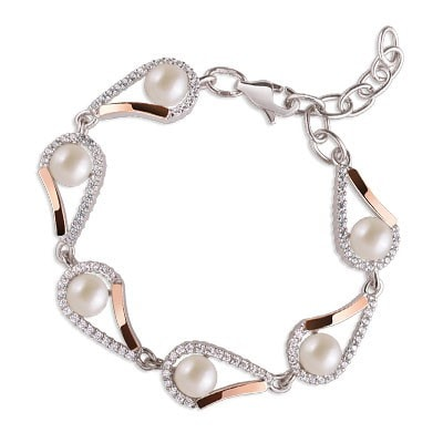 Timeless Silver and 9kt Rose Gold Bracelet with Freshwater Pearls
