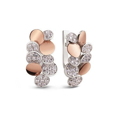 Silver and 9 kt. Rose Gold London City Earrings