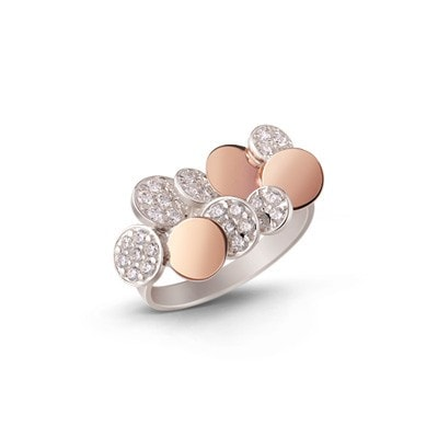 Silver and 9 kt. Rose Gold London City Ring