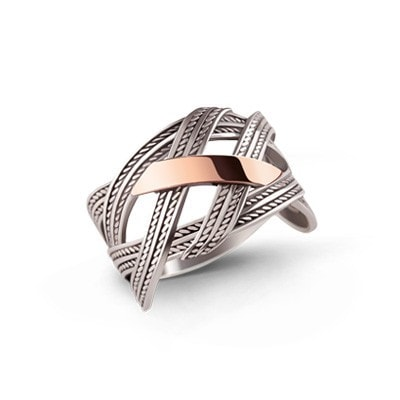 Rope-Detailed Silver and 9kt Rose Gold Ring