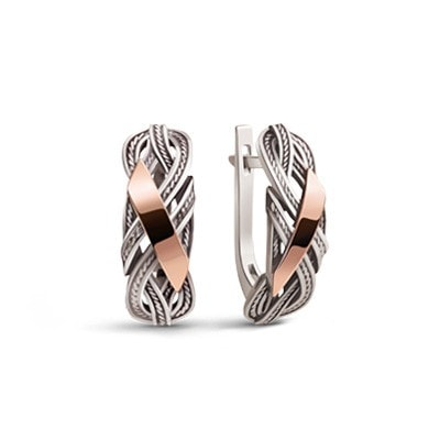 Rope-Detailed Silver and 9kt Rose Gold Earrings