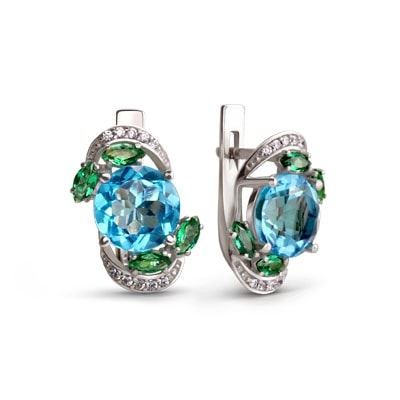 Summer-Inspired Silver Earrings with Swiss Blue Quartz and Green Cubic Zirconia