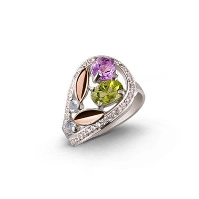 Delicate, Floral-Inspired Silver and 9kt Rose Gold Ring with Topaz, Chrysolite, Amethyst