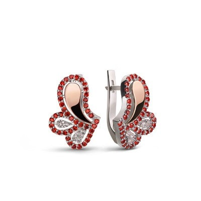 Mostly Handmade, Delicate Silver and Rose Gold Earrings with Red and White Cubic Zirconia