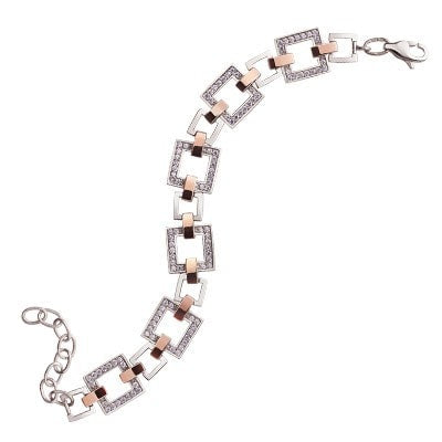 Stylish Geometric Silver and 9kt. Rose Gold Bracelet with Cubic Zirconia
