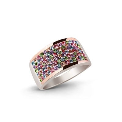 Colorful Silver and 9kt Rose Gold Ring with Swarovski Crystals