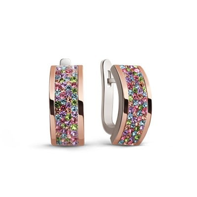 Colorful Silver and 9kt Rose Gold Earrings with Swarovski Crystals