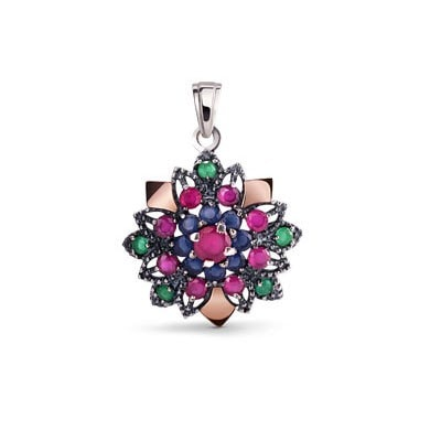 Silver colourful pendant with cubic zirconia