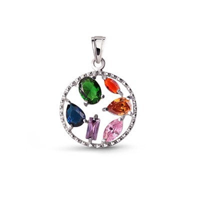 silver colorful pendant with cubic zirconia