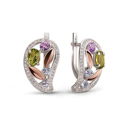 Delicate, Floral-Inspired Silver and 9kt Rose Gold Earrings with Topaz, Chrysolite, Amethyst