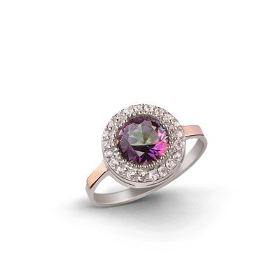 Elegant Silver and 9kt  Rose Gold Ring with Cubic Zirconia – INVIN