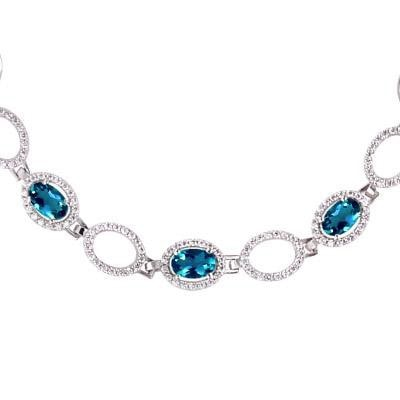 Bracelet with London blue topaz, rhodium-plated sterling silver and cubic zirconia