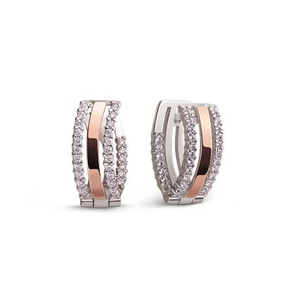 Sleek Classic Silver and 9kt Rose Gold Earrings with Cubic Zirconia