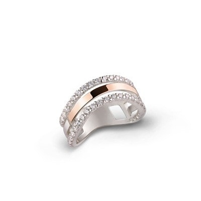 Sleek Classic Silver and 9kt Rose Gold Ring with Cubic Zirconia