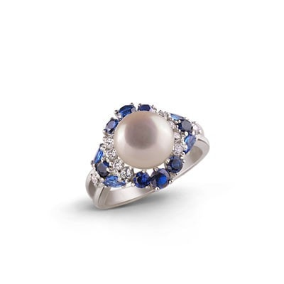 Glamour Silver Ring with Sapphires and Freshwater Pearl